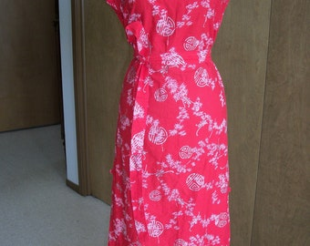 Vtg Asian Print Tunic Dress Cherry Red with Pink and Silver Print M L XL