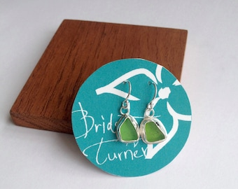 Lime Green Sea Glass Earrings made in Sterling Silver - Sea Glass Collection