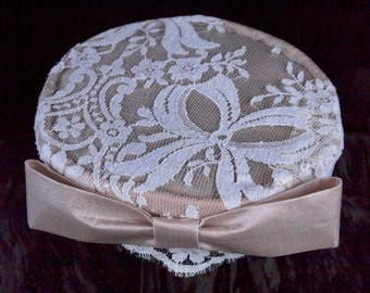 Lace wedding hat, champagne satin and white lace, pillbox style