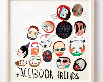 Print, Facebook Friends, Friendship gift, Facebook stuff, Colorful art, Poster, Cool wall decor, Quirky art, Illustration
