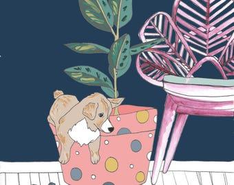 Corgi puppy with plant illustration ORIGINAL ART PRINT