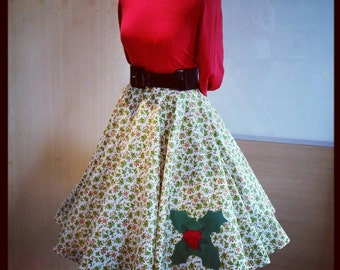 1950's, 50's, vintage, retro, pin-up, style candy cane Christmas full circle skirt size 29 inch waist with felt holly