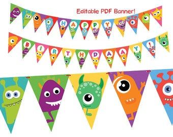 Little Monster Editable Birthday Party Banner, Monster Birthday Decorations, Funny Monsters Kids Party, Printable PDF, Instant Download