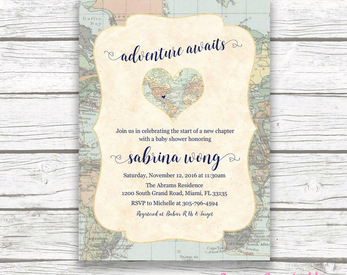 World Baby Shower Invitation, Map Travel Baby Shower Invitation, Adventure Awaits Invitation, Gender Neutral Baby Shower Invite, Printable