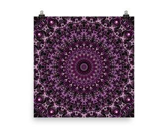Large Wall Art, Abstract Purple and Pink Mandala Art, Home Decor Poster Prints