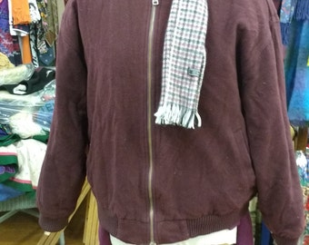 Vintage Burgundy Maroon wool  Bomber Jacket Size L