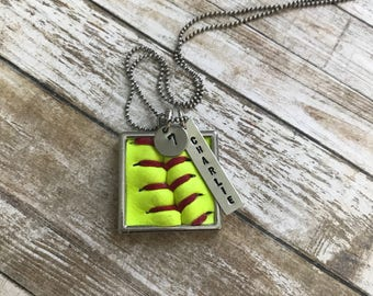 Softball Necklace - Personalized Name & Number - Hand Stamped - Softball Seams - Softball Leather - Personalized Softball Necklace - Square