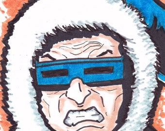 """Captain Cold Flash ACEO trading card2 1/2"""" x 3 1/2"""""""