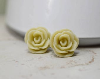 Neutral Rose Earrings, Linen Colored Flower Studs, Oatmeal, Beige, Natural Jewelry