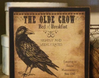 Primitive Decor,Primitive Crow Sign,Rustic Primitive Decor,Wood Crow Sign, Crow Decor, Rustic Decor