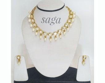 Pearl and Kundan Indian Fashion Jewellery, Indian Jewellery, Fashion Jewellery, Pretty Neckline