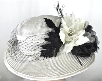 Wide Brim  White Kentucky Derby Hat, Women's Hat with Feathers, White Easter Hat, ONE of a KIND HAT