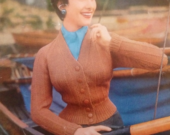 vintage knitting pattern PDF ladies 1950s style raglan cardigan sized 34 36 and 38 inches