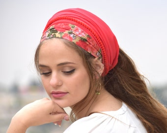 Stately Bright Red Headband Tichel  ,Snood, Head Scarf, Head Covering, Jewish headcovering, Scarf, Bandana, Apron