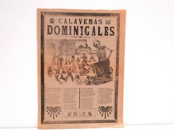 Manuel Manilla Calaveras Dominicales Broadside Engraving Day of the Dead Folk Art Vintage 1800's Mexico Political Antonio Vanegas Arroyo