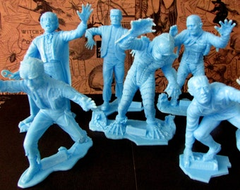 Vintage Marx Universal Monsters Figures Set of Six Including Frankenstein, Mummy, Wolfman, and Creature from the Black Lagoon