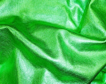 "EMERALD GREEN Pebbled Metallic 12""x12"" - shows the grain - cowhide Leather 3 oz / 1.2 mm PeggySueAlso™ E4100-13"