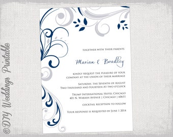 Wedding invitation template silver gray and royal blue printable wedding invitation templates silver gray and navy blue scroll invitations you edit navy and gray digital instant download stopboris Gallery