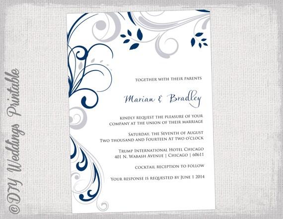 Printable wedding invitation templates silver gray and navy stopboris Gallery