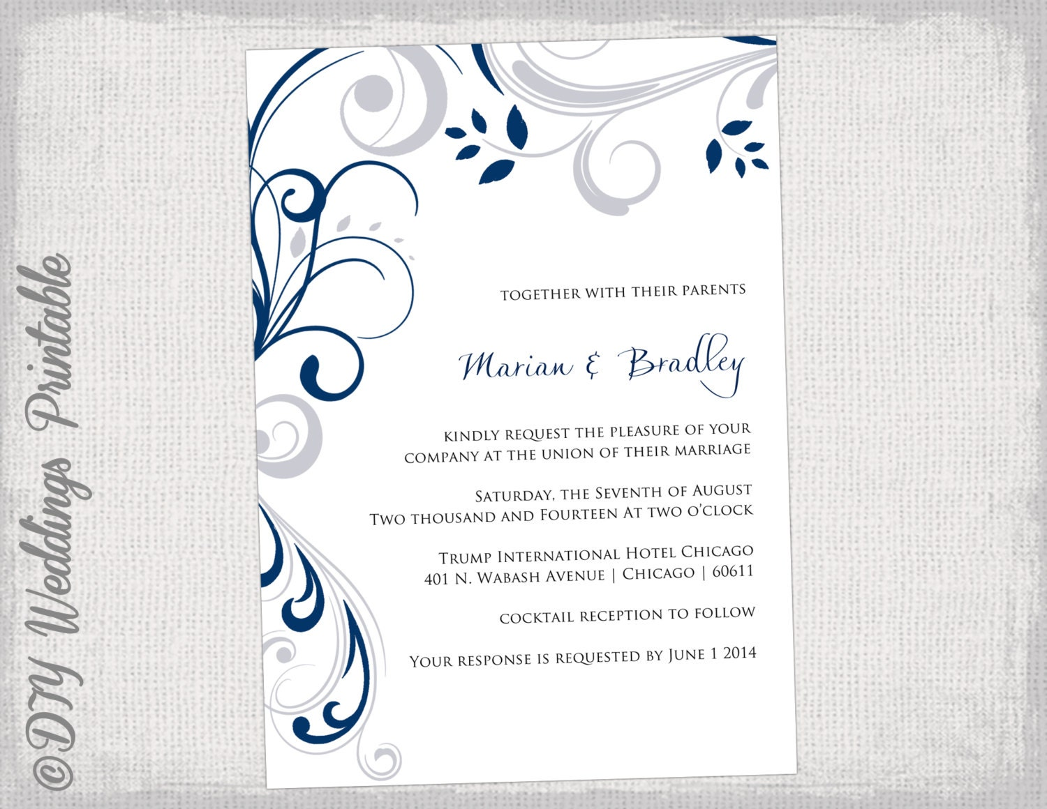 Printable Wedding Invitation Templates Silver Gray And Navy - Wedding invitation templates: silver wedding invitations templates