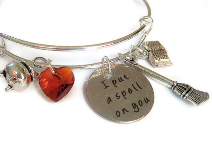 witches bangle, halloween gift, halloween bangle, halloween bracelet, hocus pocus gift, hocus pocus bangle, spell on you, witches gift,