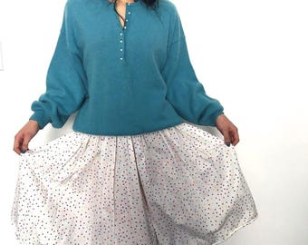 "60s Confetti Skirt, Vintage Polka Dot Skirt, 1960s, 26"" Waist, Small, Dotty, Summer Skirt, Lazy Day Vintage NZ"
