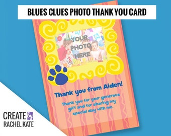 Blues Clues Birthday Party Personalized Printable Photo Thank You Card Yellow Picture Frame