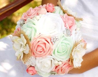 Coral Pink Mint Brooch Wedding Bouquet Charm Alternative