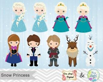 Instant Download Snow Princess ClipArt, Frozen Clipart, Snow Princess Clip Art, Frozen Clip Art, 00177