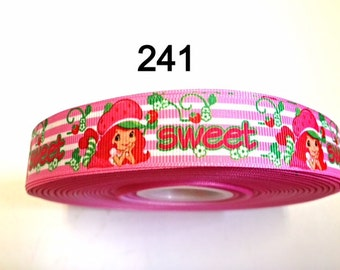 "2 yard - 7/8"" Sweet Strawberry Shortcake Pink and White Stripe Grosgrain Ribbon Hair bow Craft Supply"