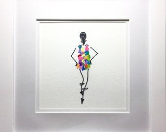 Framed Girl Sketch With Acrylic Dress