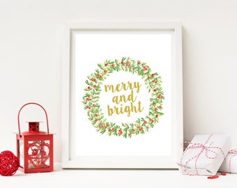 Merry and Bright - Christmas Wreath Print
