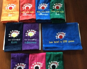 Bowling, Personalized Bowling Towel, Embroidered Towel, gift for him, gift for her, Fathers Day, Mothers Day