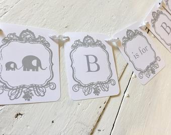 Elephant Banner, Elephant Garland, Elephant Baby Shower Banner, Elephant Decoration Photo Prop