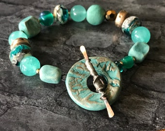Handcrafted Bead Bracelet in Shades of Ocean Teal with Mary Harding Toggle Clasp