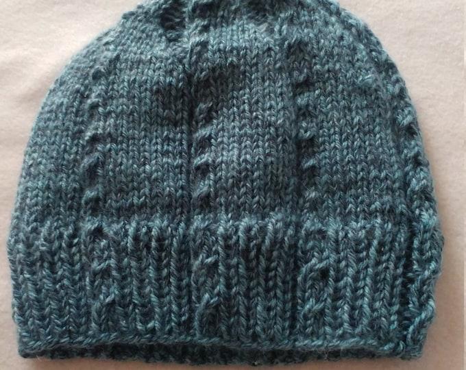 baby cable beanie,handmade beanie, blue heather beanie