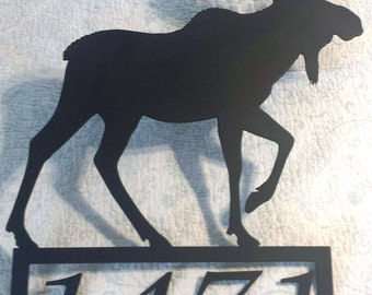 Custom Personalized Metal Moose Silhouette with Your Name or House Number