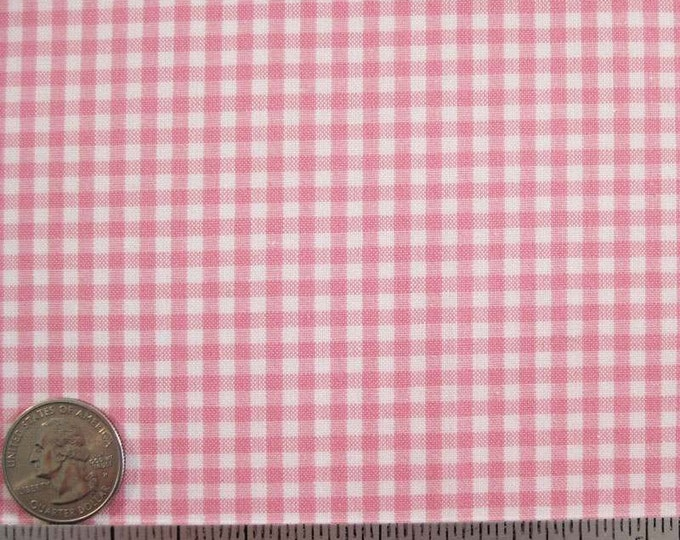 """GINGHAM CHECK 1/8"""" Candy Pink White Cotton Quilt Fabric - 1 Yard (16 other colors available) - CUT on the grain so there is no waste"""