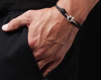 Bracelet for Men - Cord Bracelet for Men - Mens Naval Bracelet - Sterling Silver Men's Bracelet - Black cord bracelet for men - Man Bracelet