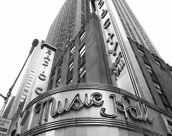 Radio City, New York Photography, Black and White Print, NYC, Office Decor, Urban, New York City, Wall Art, Vertical