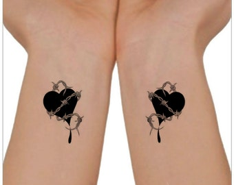 Temporary Tattoo Hearts Waterproof Fake Tattoo Thin Durable
