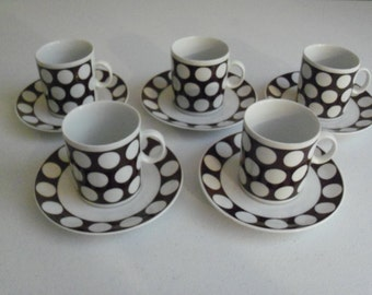 Favolina Poland Set Of Five Poka Dot Cup & Saucer Sets