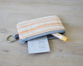 Mini Wallet in Fringe Apricot - Pouch with Key Ring