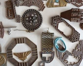Art Deco Art Nouveau Jugendstil brass jewelry parts.  No 3