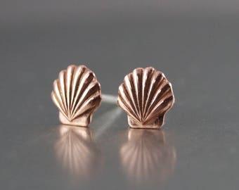 Sea Shell Earrings, Shell Studs, Sterling Stud Earrings, Womens Earrings, Copper Shell Earrings, Beach Earrings, Tide Pool Earrings, Wedding