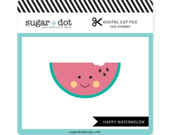 Happy Watermelon Cut File, .SVG file, Digital Cut File, Personal/Limited Commercial Use