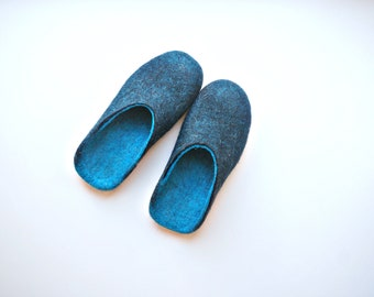 Felted Slippers For Women With Rubber Soles, Turquoise Black Wool Felt Slippers