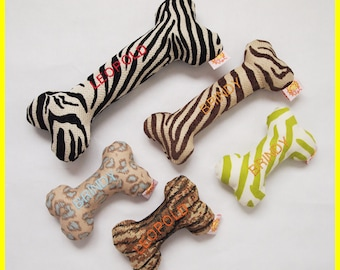 Tuff 'n' Stuff Personalized Dog Toy with Squeakers - Various Thick Fabrics - Small, Medium and Large Sizes