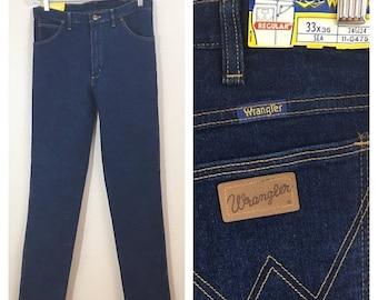 30% Off Sale 70s Wrangler Straight Leg Dark Denim Jeans, Deadstock, NWT, Women's Size Medium to Large, Tall, 31 Waist