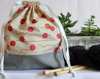 Knitting Project Drawstring Bag - Unravelling
